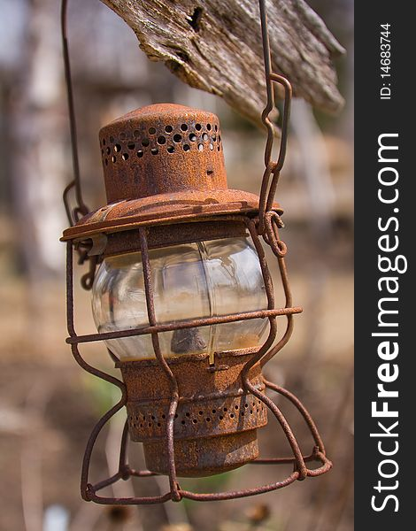 An Old Rusty Oil Lamp