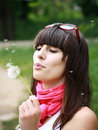 Free Sexual Brunette With Dandelion Royalty Free Stock Photos - 14697148