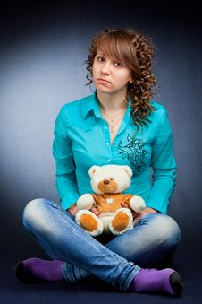 Free Young Teen With Teddy Stock Photography - 14690372