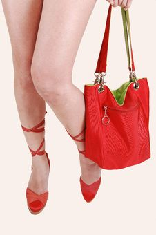 Free Girls Legs With Red Bag. Stock Photography - 14690702