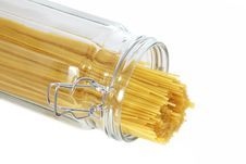 Free Spaghetti Pasta Sticking Out Of A Glass Jar Stock Images - 14690864