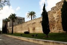 The Alcazar Medieval Fortress Walls In Jerez Stock Photos