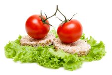 Two Ripe Tomatoes And Small Loaf Of Bread Royalty Free Stock Images