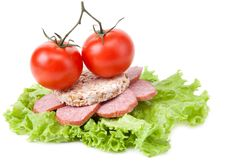 Sandwich With Sausage, Tomatoes And Salad Stock Images