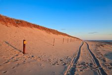 Free Beautiful Sunset At The Beach With Sand Dunes Stock Photography - 14693502