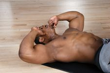 Free African American Doing Sit Ups And Crunches Stock Photos - 14694003