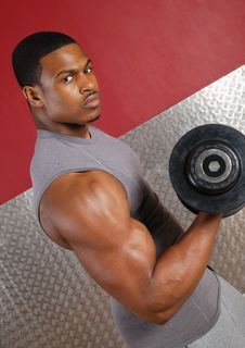 Free African American Lifting Weights Stock Photography - 14694202