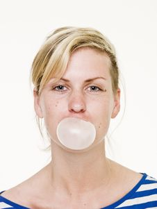 Girl With Bubble Gum Royalty Free Stock Photo
