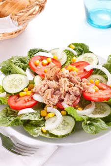 Free Salad Tuna Tomato Corn And Onion Royalty Free Stock Image - 14695496