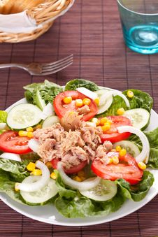 Free Salad Tuna Tomato Corn And Onion Royalty Free Stock Photo - 14695525