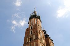 The Tower Of Mariacki Church In Cracow Stock Images