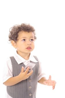 Free Young Toddler On The Cellphone Royalty Free Stock Image - 14696456