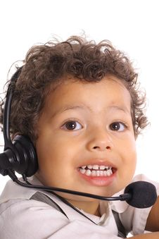 Free Adorable Toddler With Headset Stock Image - 14696601