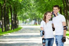 Free Young Couple In Park Stock Photography - 14696802