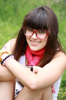 Free Brunette In Rose Spectacles Stock Photography - 14697182