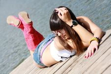 Free Sexual Brunette With Rose Glasses Near Lake Royalty Free Stock Photography - 14697207