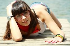 Free Sexual Brunette In Shorts Near Lake Royalty Free Stock Photo - 14697225