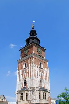 Free Town Hall With Clock In Summer Krakow Stock Photography - 14697432