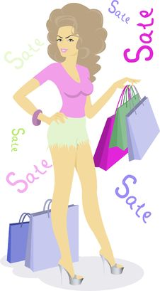 Free Girl With Bags Stock Photos - 14697803