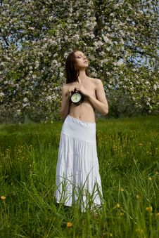 Young Sexy Girl Near Blooming Apple Tree Stock Photo