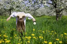 Free Young Girl With An Alarm Clock Near Blooming Apple Royalty Free Stock Photos - 14698168