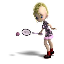 Free Cute Female Cartoon Punk Is A Tennis Player. 3D Royalty Free Stock Photography - 14698747