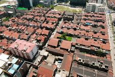 Roofs Of Old Lane Houses In Shanghai Royalty Free Stock Image