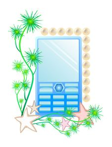 Cell Phone With Seaweed Stars And Pearls Stock Photos