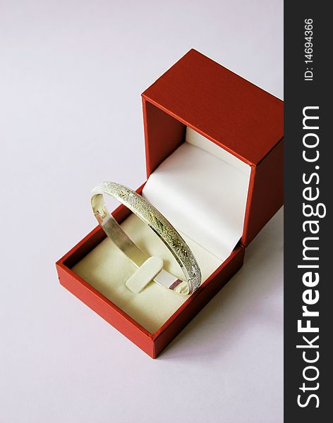 Silver bracelet in a red box