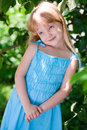 Free Little Girl In The Park Wearing Blue Dress Royalty Free Stock Photos - 14707228