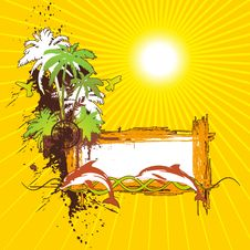 Tropical Scene Banner Royalty Free Stock Photography