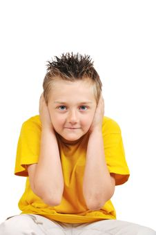 Free Boy Hold Ears - I Can T Hear You Royalty Free Stock Image - 14700516