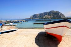 Free Sicily, Colorful Fishing Boat Sea & Mount Royalty Free Stock Image - 14701076