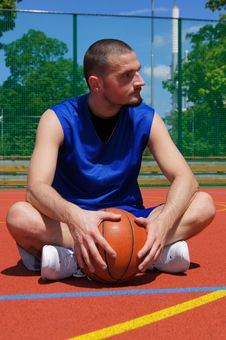 Basketball Player On The Sportground With Look Lef Royalty Free Stock Photos
