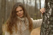 Free Pretty Girl And Birch Tree Royalty Free Stock Image - 14703026