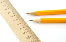 Free Ruler And Two Pencils Royalty Free Stock Photos - 14703618
