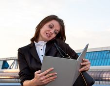 Young Business Lady Speaking Over The Mobile Phone Stock Photos