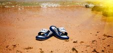 Free Wet Sandals Next To The Sea. Stock Image - 14705101