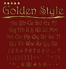 Free Alphabet Golden Style Royalty Free Stock Image - 14705176