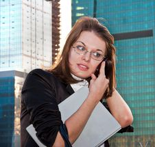 Young Business Lady Speaking Over The Mobile Phone Stock Photography