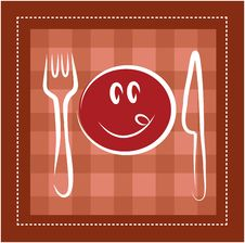 Free Happy Smiley Face With Fork And Knife Royalty Free Stock Photos - 14705488