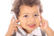 Adorable Little Boy On Cellphone Royalty Free Stock Image