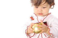 Young Baby Looking At An Ornament Stock Photos