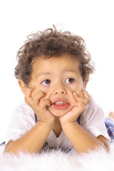 Adorable Little Boy Making A Funny Face Royalty Free Stock Photos