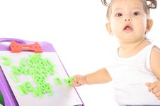 Free Cute Little Girl Playing With ABC Stock Photo - 14705940
