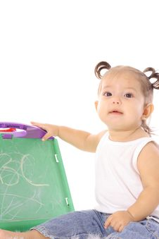 Free Little Baby With Chalkboard Stock Image - 14705951
