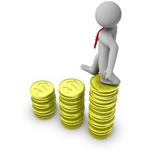 Free 3d Man Walking On Growth Of Dollar Coins Royalty Free Stock Photos - 14705998