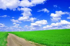Free Green Field With Road And Blue Sky. Royalty Free Stock Photo - 14706565