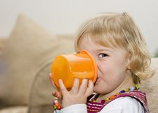 Toddler Girl Drinking From A Cup Royalty Free Stock Image