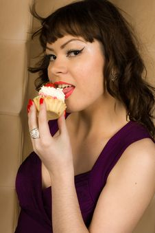 Sexy Girl In Purple Dress And Cake Stock Image